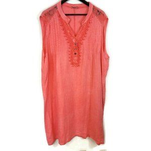 Alessia Pacini Embroidered Lace Pink Linen Dress